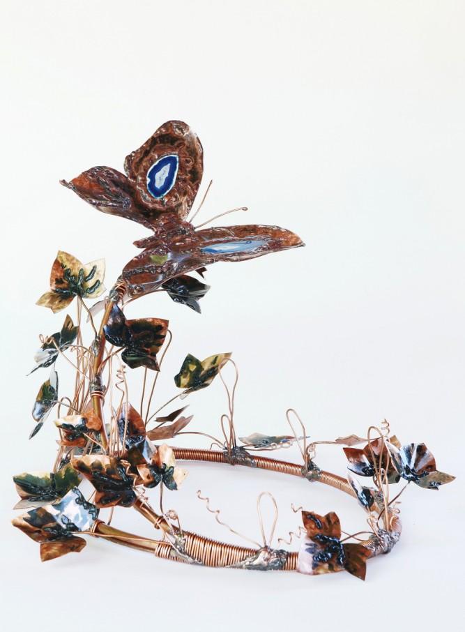 Jardin Papillon pour Urne en cuivre