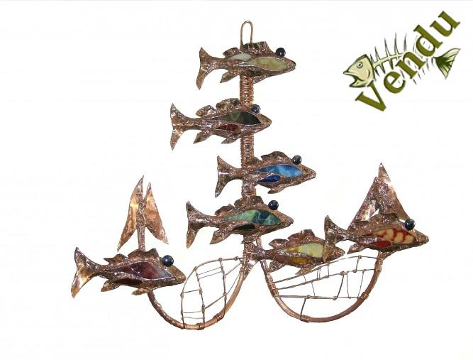 Christine jean sculpture cuivre et verre 7 mille lieus sous les mers poisson chakras