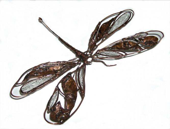 Christine jean sculpture cuivre et verre Bébé Libellule