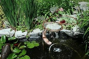 Christine jean sculpture cuivre et verre Fontaine