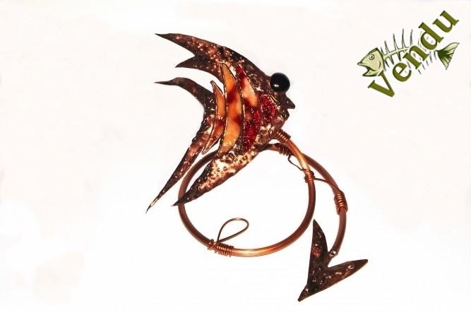 Christine Jean Artiste Québec Canada cuivre verre  sculpture soudure  poisson hameçon pêche ange